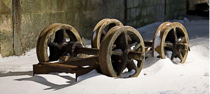 Abandoned slate waste wagon
